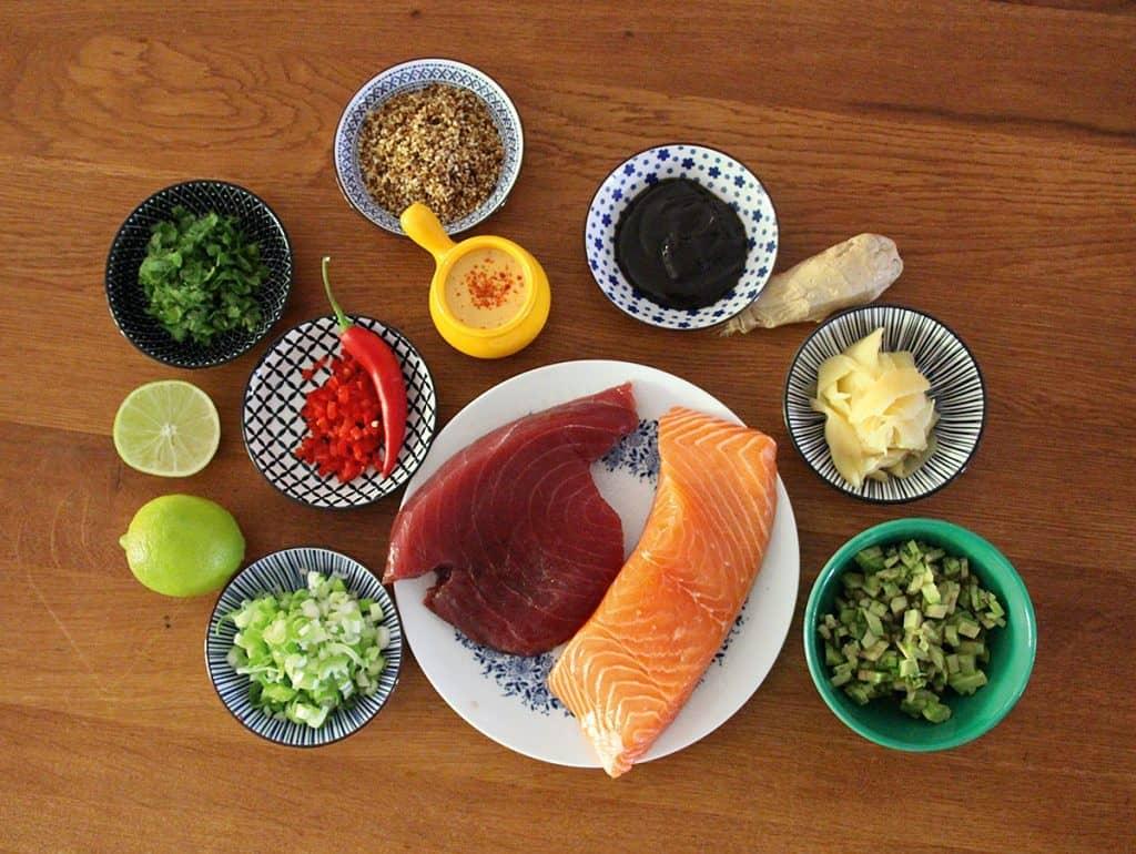 Zutaten für Lachs- und Thunfischtatar