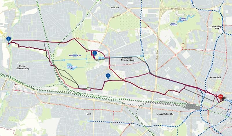 Radtour Blutenburg MVV Karte
