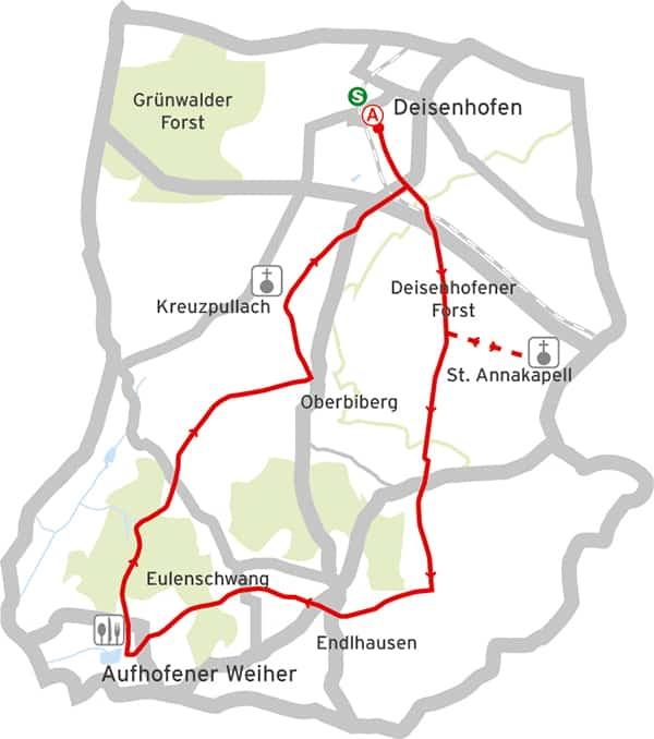 Radtour München Deisenhofener Forst Karte