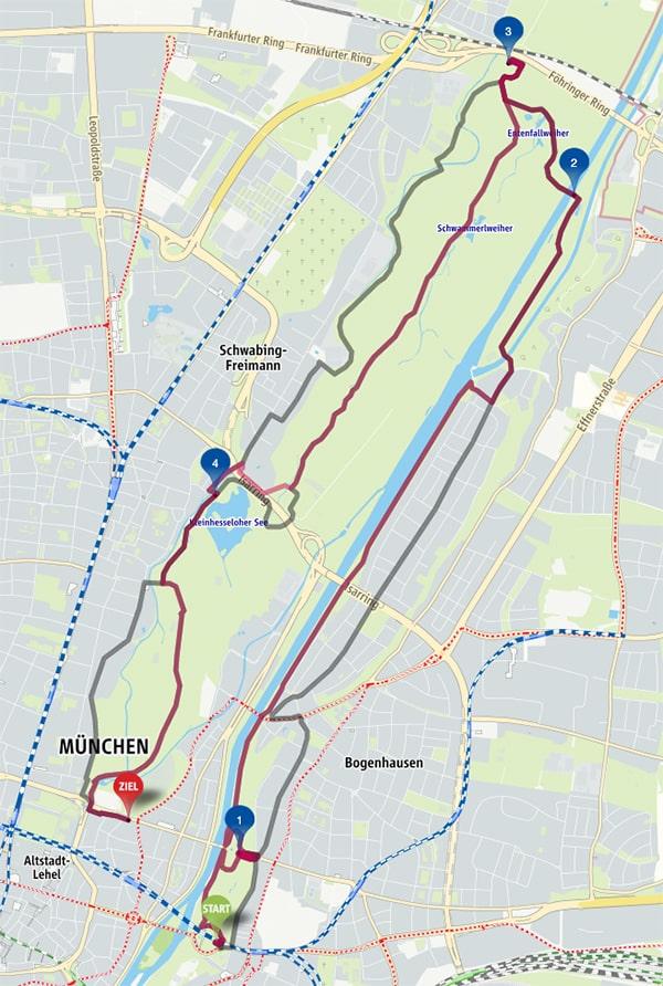 Radtour Englischer Garten MVV Karte