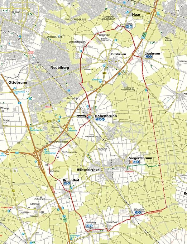 Radtour Hoehenkirchner Forst Karte