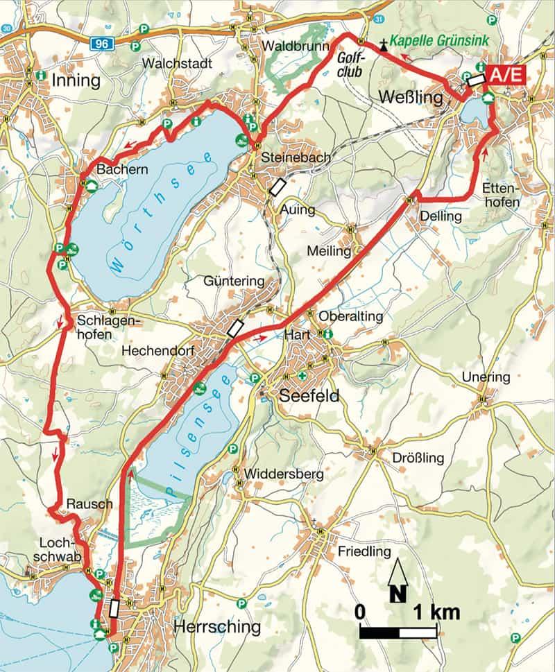 Wessling an Ammersee Karte